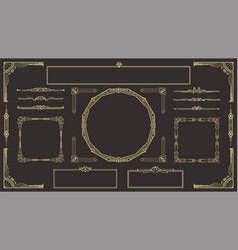 art deco border and frame set vector image