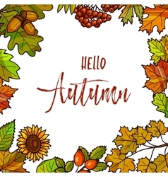 Autumnal or fall round frame background Wreath of vector