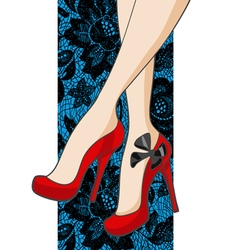BeautifulFemaleLegsInShoesOnALaceBackground vector image