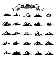 Big set of mountains icons isolated on white vector