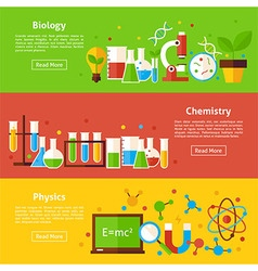 Biology Chemistry Physics Science Flat Horizontal vector