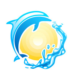 blue dolphin swinmming in the sea waves vector image