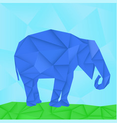 blue elephant polygonal origami like vector image