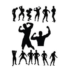 Bodybuilding sport silhouette vector