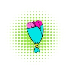 Bouquet of tulips icon comics style vector image