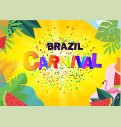 Brazil carnival with party flags on yellow vector