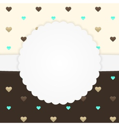Brown and yellow card template with hearts vector image