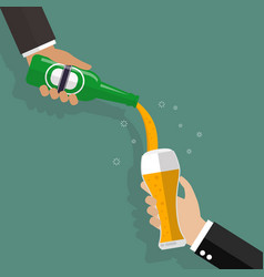 butler pouring beer on glass illutration vector image