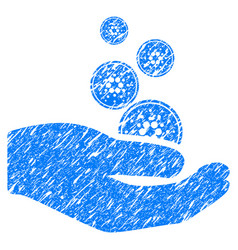 Cardano coins payment hand icon grunge watermark vector
