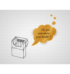 care about your health with pack of cigarettes vector image