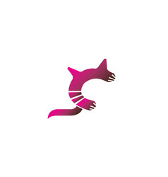 cat symbol with big tail for logo design vector image