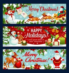 Christmas festive banner santa sleigh with gift vector