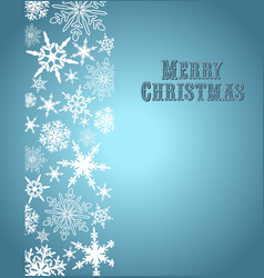 Christmas Snowflake Card Silver Blue vector image