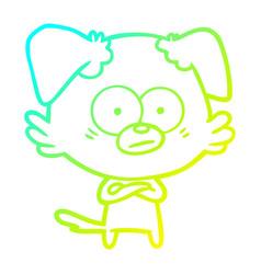Cold gradient line drawing nervous dog cartoon vector