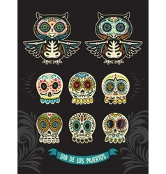 Collection of sugar skull cats in mexican style vector