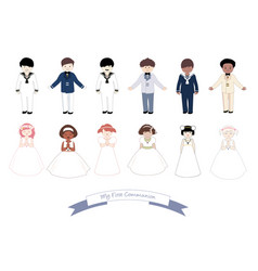 collection six children and six girls wearing vector image