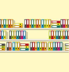 Colorful folders on shelves seamless vector