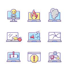 Computer damage rgb color icons set vector
