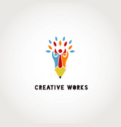 creative group people pencil logo sign symbol vector image