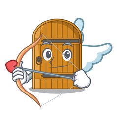 Cupid cartoon wooden door massive closed gate vector