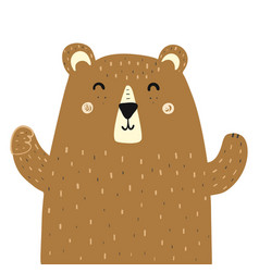 cute brown grizzly bear print for kids forest vector image
