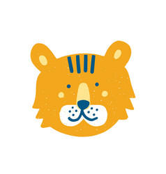 Cute funny tiger face or head adorable cartoon vector