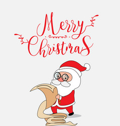 Cute santa claus christmas greeting card vector