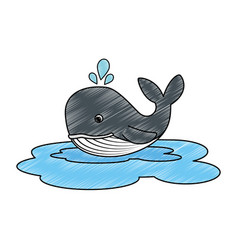 cute whale in ocean character vector image