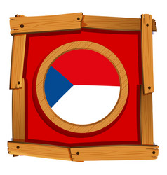 Czech republic flag on round badge vector