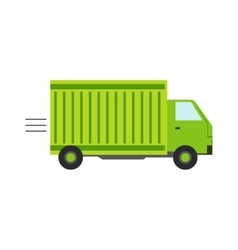 Delivery Service Company Green Long Distance Truck vector