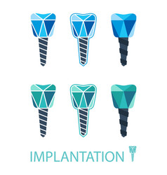 Dental implant symbol set vector