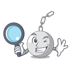 detective wrecking ball hanging from chain cartoon vector image