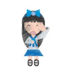drawing japanese girl student uniform vector image