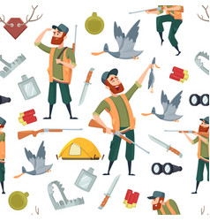 duck hunters pattern seamless background with vector image