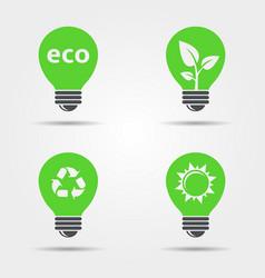 eco light bulb icons set vector image