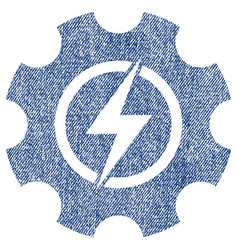 Electric power cog gear fabric textured icon vector