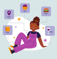 Flat about me concept with interests and hobbies vector
