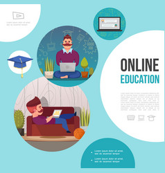 flat e-learning template vector image