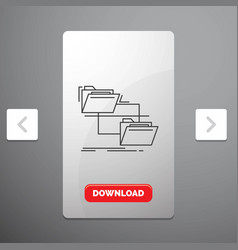 folder file management move copy line icon in vector image