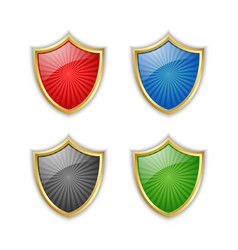 four colorful glossy golden shields placed on vector image