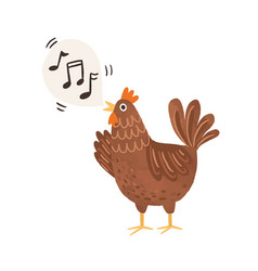 Funny brown chicken clucking and singing songs vector