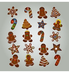 Gingerbread Christmas colorful set Cookies vector image