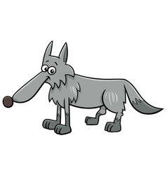 gray wolf animal character cartoon vector image