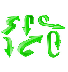 green bold arrows 3d shiny signs vector image