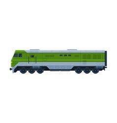 green train railway locomotive railroad vector image
