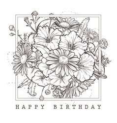 Greeting card with happy birthday wishes vector