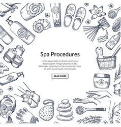 Hand drawn spa elements background vector