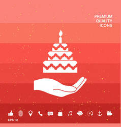 Hand holding a cake icon vector