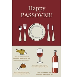 Happy Passover- Seder Pesach with holiday elements vector image