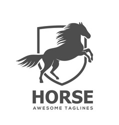 horse with lines shield vector image
